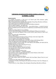 CHINESE CHARM WITH HONG KONG & MACAU 10 Nights / 11 Days