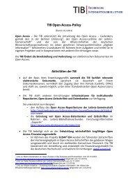 TIB Open Access-Policy – Erklärung für die Homepage
