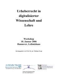 Urheberrecht in digitalisierter Wissenschaft und Lehre - TIB