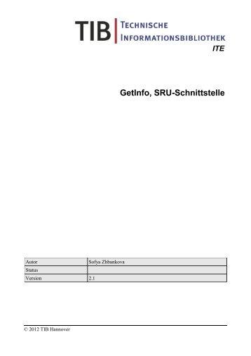 GetInfo, SRU-Schnittstelle - TIB