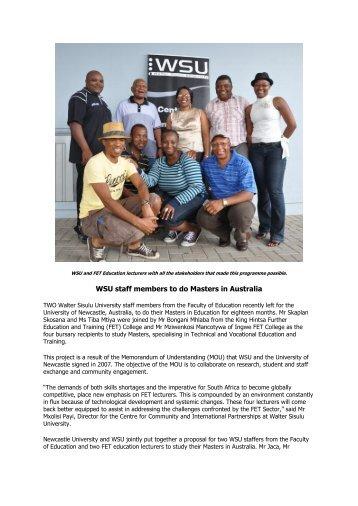 WSU staff members to do Masters in Australia - Walter Sisulu ...