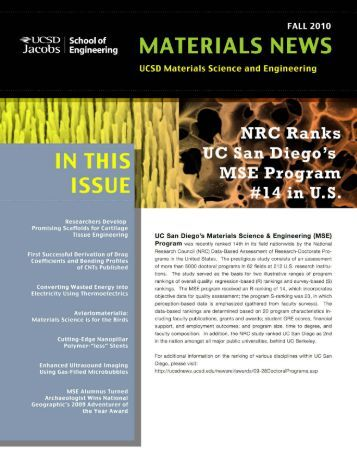 2010 - Materials Science and Engineering - UC San Diego