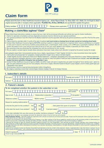 PB25244 Malta Claim Form - Atlas Insurance Malta