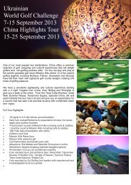 Golf Challenge and China Highlights Tour
