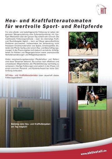 und Kraftfutterautomaten für Pferdeboxen - HIT Aktivstall