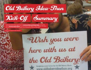Old Bakery Idea-Thon Kick-Off Summary - The Old Bakery Ideathon ...