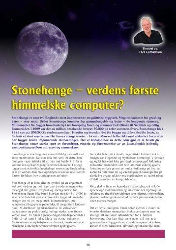 Stonhenge - en himmelsk computer? - Astrolom - Tore Lomsdalen