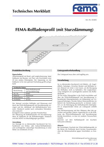 FEMA-Rollladenprofil (mit Sturzdämmung) - FEMA Farben + Putze ...