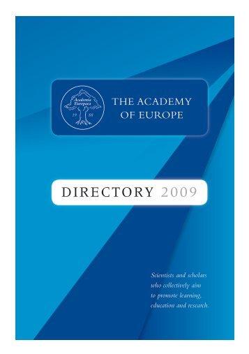 DIRECTORY 2009 - Academia Europaea