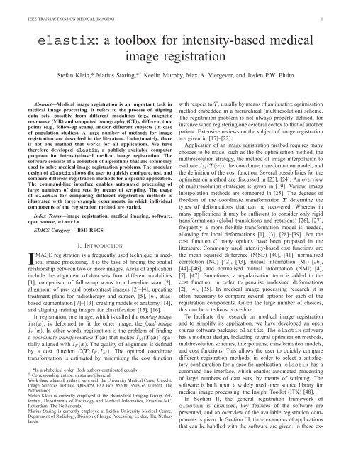 elastix: a toolbox for intensity-based medical image registration