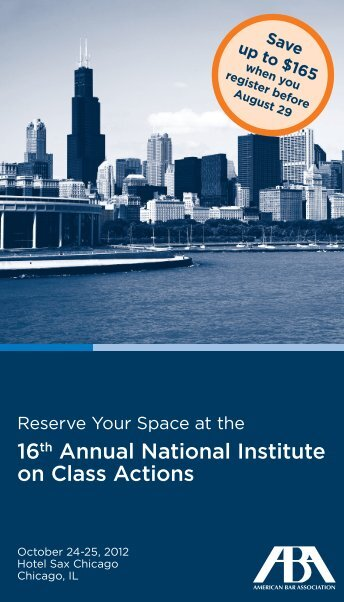16th Annual National Institute on Class Actions - American Bar ...
