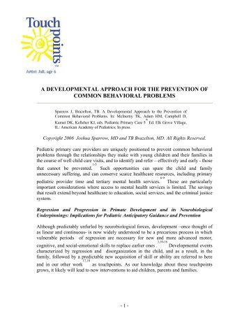 A Developmental Approach for the Prevention of Common