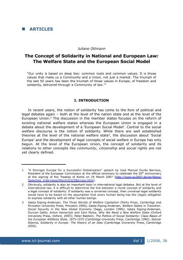 ARTICLES The Concept of Solidarity in National and - International ...