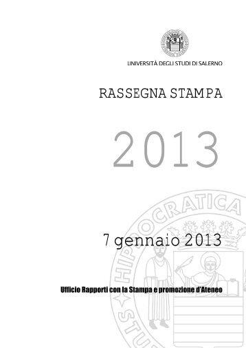 7 gennaio 2013 - Università degli Studi di Salerno