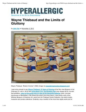 Wayne Thiebaud and the Limits of Gluttony - exhibit-E