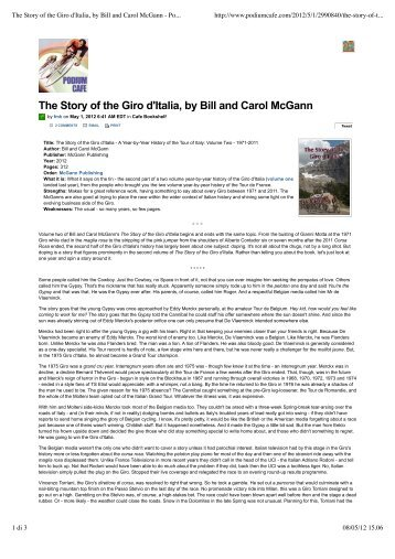 The Story of the Giro d'Italia, by Bill and Carol McGann ... - Magniflex