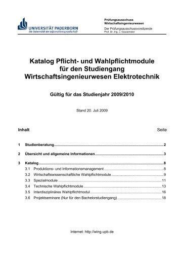 Katalog Pflicht- und Wahlpflichtmodule für den Studiengang ...
