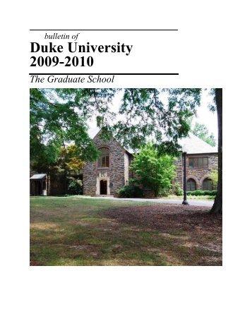 Duke University 2009-2010 - Office of the Registrar - Duke University
