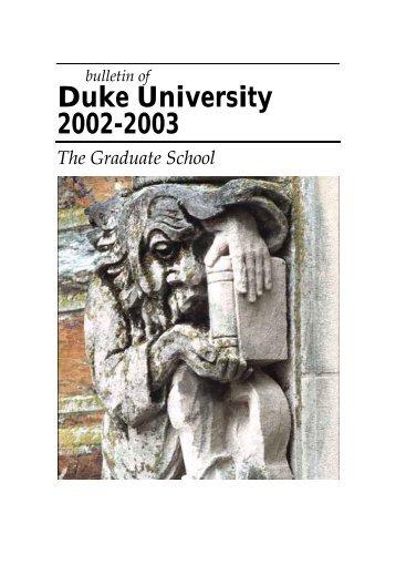 Duke University 2002-2003 - Office of the Registrar - Duke University
