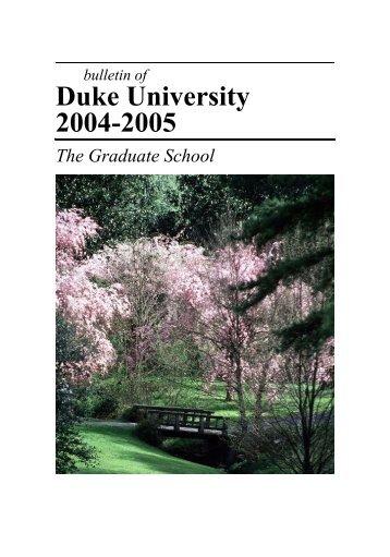 2004-05 - Office of the Registrar - Duke University