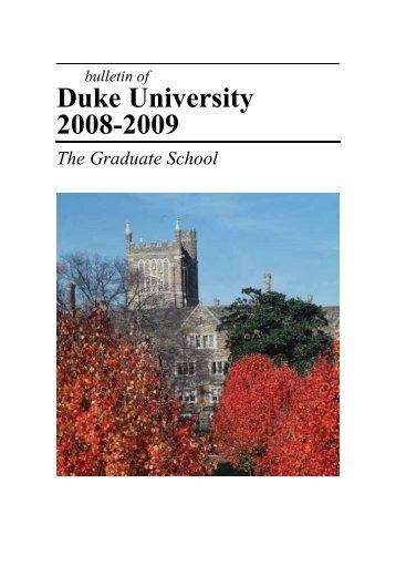 Duke University 2008-2009 - Office of the Registrar - Duke University