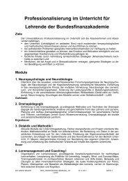 Professionalisierung im Unterricht für Lehrende der ...