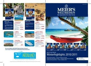 Die neuen MEIER'S WELTREISEN Winterkataloge 2010/2011 sowie