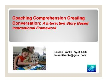 Coaching Comprehension Creating Conversation: - Home