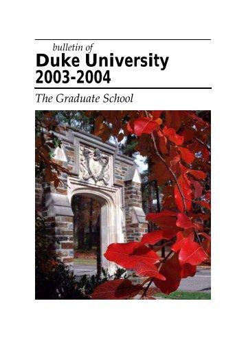 Duke University 2003-2004 - Office of the Registrar - Duke University