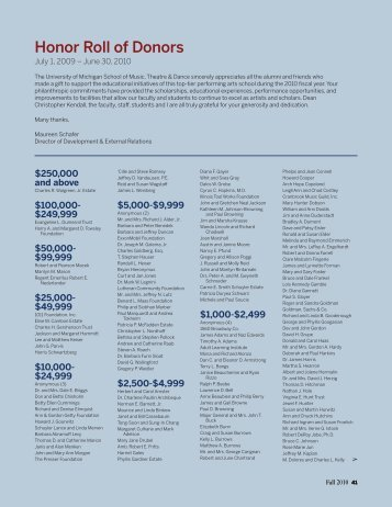Honor Roll of Donors (PDF) - University of Michigan School of Music