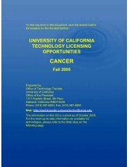 CANCER - University of California   Office of The President