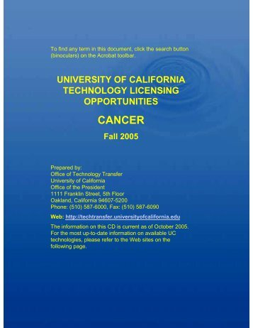 CANCER - University of California | Office of The President