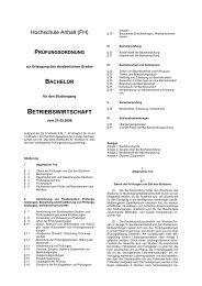 Hochschule Anhalt (FH) BETRIEBSWIRTSCHAFT