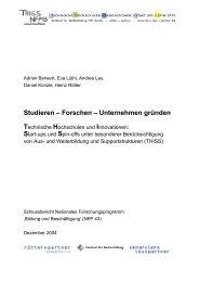 Studieren – Forschen – Unternehmen gründen - thiss - ETH Zürich