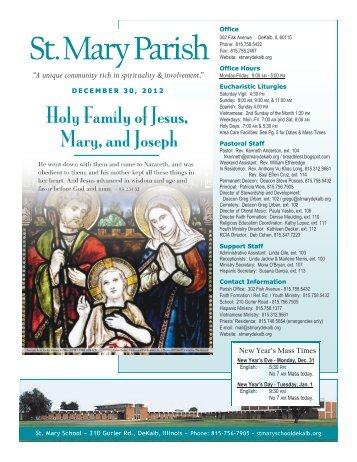 Holy Family of Jesus, Mary and Joseph - December - St. Mary ...