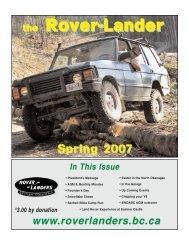 April 2007 - Rover Landers of B.C.