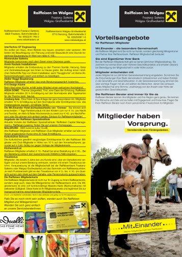 Mitglieder haben Vorsprung. - Raiffeisenbank Walgau-Grosswalsertal