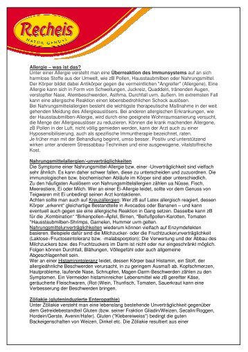 Kurzinfo Allergien (pdf) - Recheis