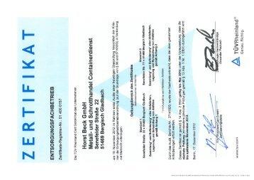 Download: Zertifikat.pdf - Horst Beck GmbH