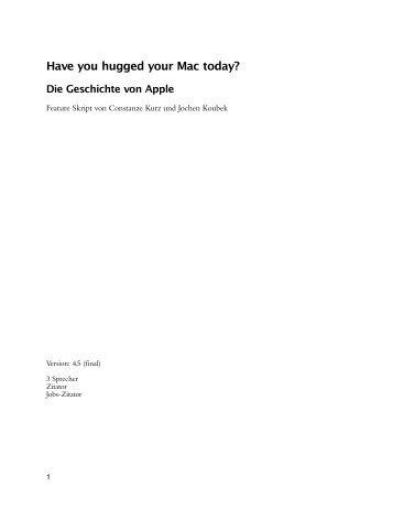 Have you hugged your Mac today? Die Geschichte von Apple - Home