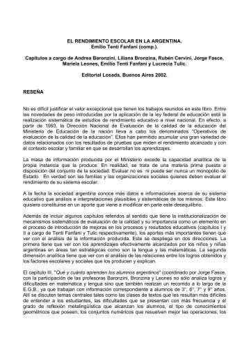 EL RENDIMIENTO ESCOLAR EN LA ARGENTINA. Emilio Tenti ...