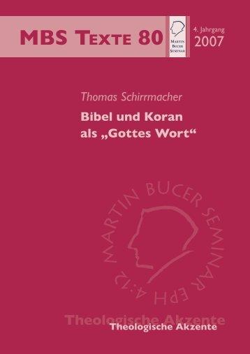 """Bibel und Koran als """"Gottes Wort"""" - Martin Bucer Seminar"""