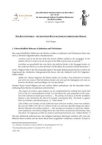 Das Buch Levitikus - Haus Ohrbeck