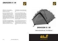 DRAGON I / II sind sturmstabile Kuppelzelte mit viel ... - Jack Wolfskin