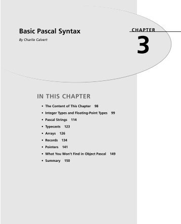 3 Basic Pascal Syntax