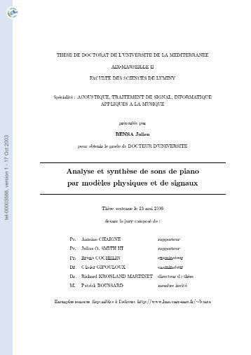 Analyse et synthèse de sons de piano par modèles physiques et de ...