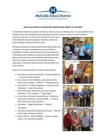 Mehlville-Oakville Foundation Awards Mini-Grants to Teachers