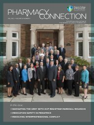 In this issue: - Ontario College of Pharmacists