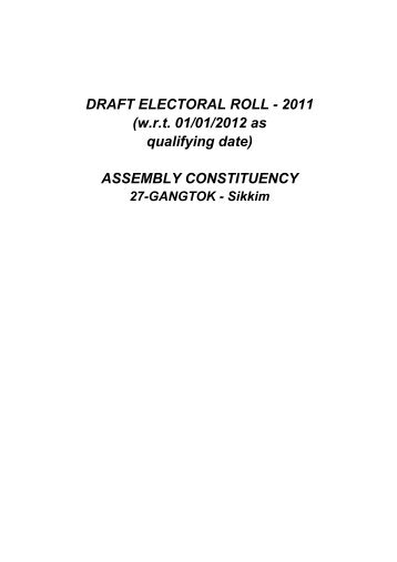 DRAFT ELECTORAL ROLL - 2011 - Chief Electoral Officer, Govt. of ...