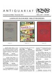 Lagerliste Buchkunde / Bibliothekswesen - Antiquariat Ballon + Wurm
